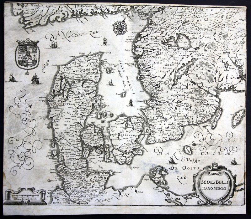 1693 Danmark Dänemark Denmark Sverige Karte map Plan Kupferstich antique print