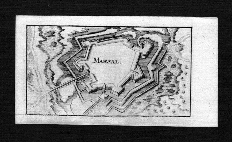 1690 - Marsal Moselle Lorraine Lothringen Frankreich gravure Kupferstich Riegel