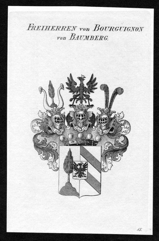 1820 - Bourguignon von Baumberg Wappen Adel coat of arms heraldry Heraldik