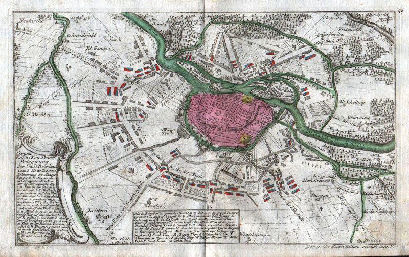1759 Breslau Wroclaw Polska Polen Niederschlesien Kilian Kupferstich engraving