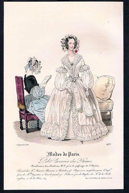 1838 Biedermeier Mode Kupferstich victorian fashion antique print Paris etching