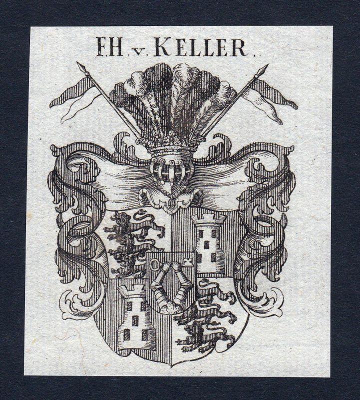 1820 Keller Schwaben Wappen Adel coat of arms Heraldik Kupferstich engraving