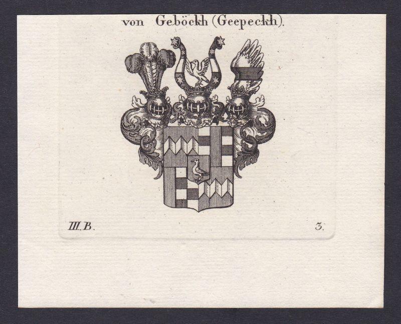 Gebeck Geböckh Bayern Wappen Adel coat of arms Heraldik Kupferstich 1820