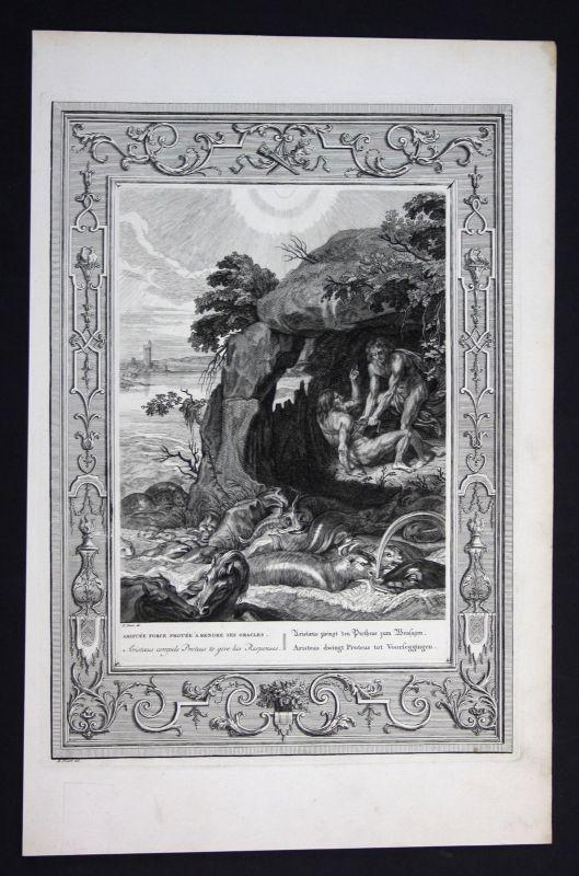 Ca. 1730 Aristaeus Proteus Greek Mythologie mythology Kupferstich engraving
