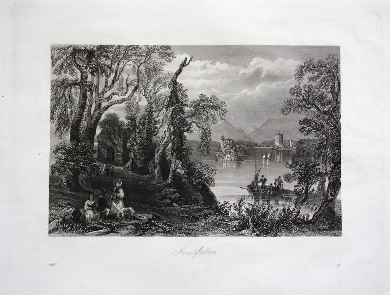 1865 - Innisfallen Island Irland Ireland antique print engraving Stahlstich