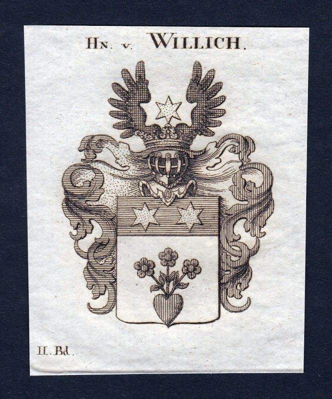 1820 Willich Nordrhein-Westfalen Wappen Adel coat of arms Kupferstich engraving