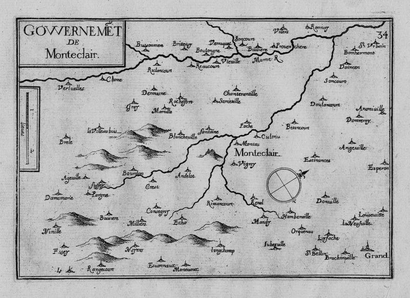 1640 - Monteclair Andelot-Blancheville Champagne gravure Kupferstich Tassin
