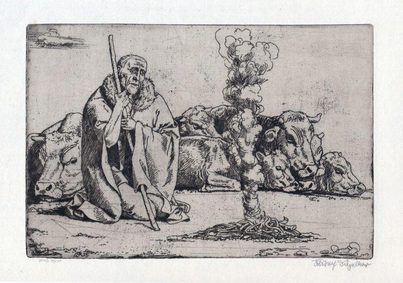 Mann Hirte shepherd Radierung etching Scheller Rudolf Oberstdorf signiert sign