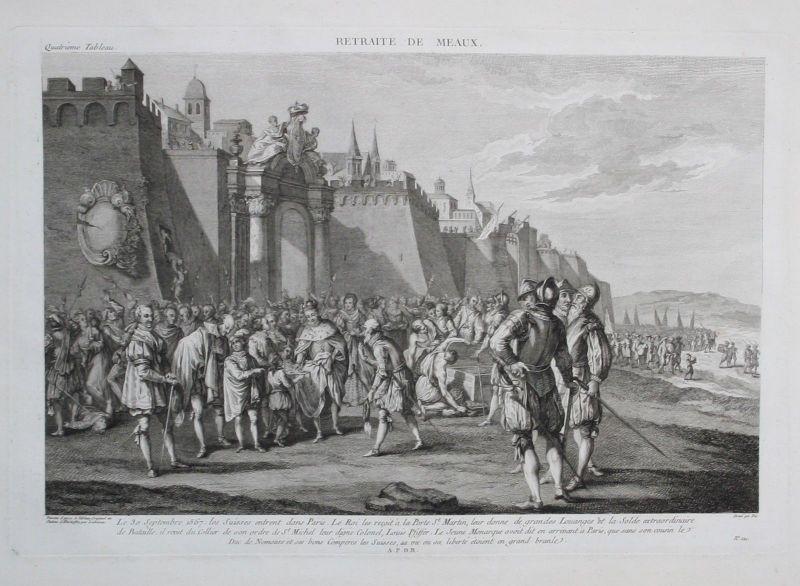 1780 - Paris Porte St. Martin Ludwig Pfyffer gravure Kupferstich Zurlauben