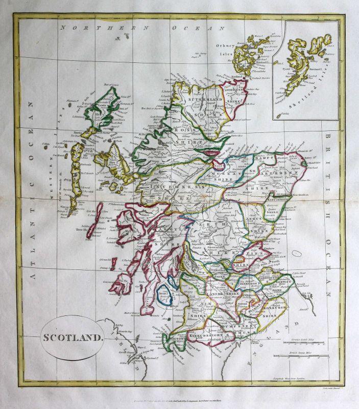 1808 Schottland Scotland England Großbritannien Karte map Kupferstich
