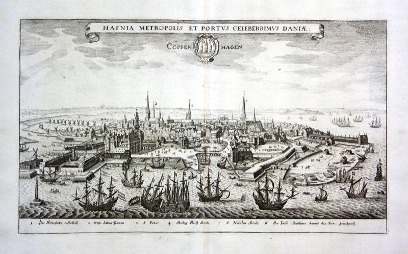 1734 Kobenhavn Danmark Denmark Ansicht view Kupferstich antique print Merian