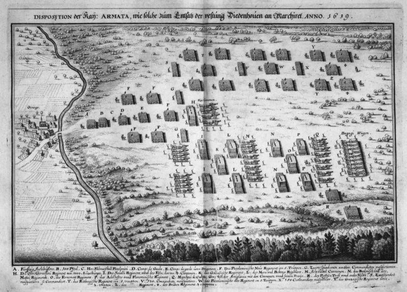 Ca 1645 Thionville siege bataille gravure plan Kupferstich antique print  148808