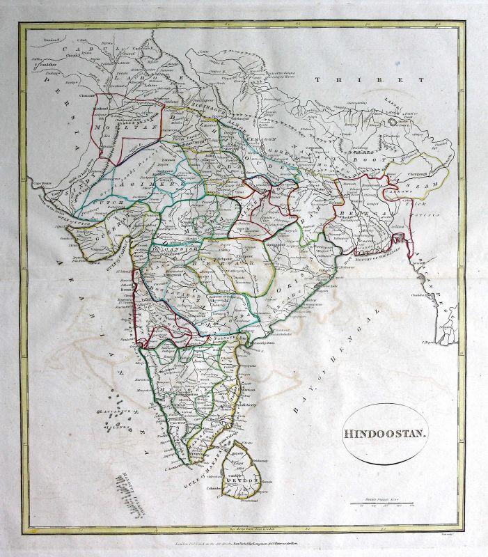 1808 Indien India Sri Lanka Asien Asia Karte map Kupferstich antique print