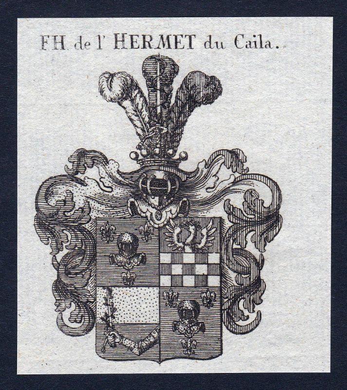 1820 Hermet Caila Wappen Adel coat of arms Heraldik Kupferstich engraving