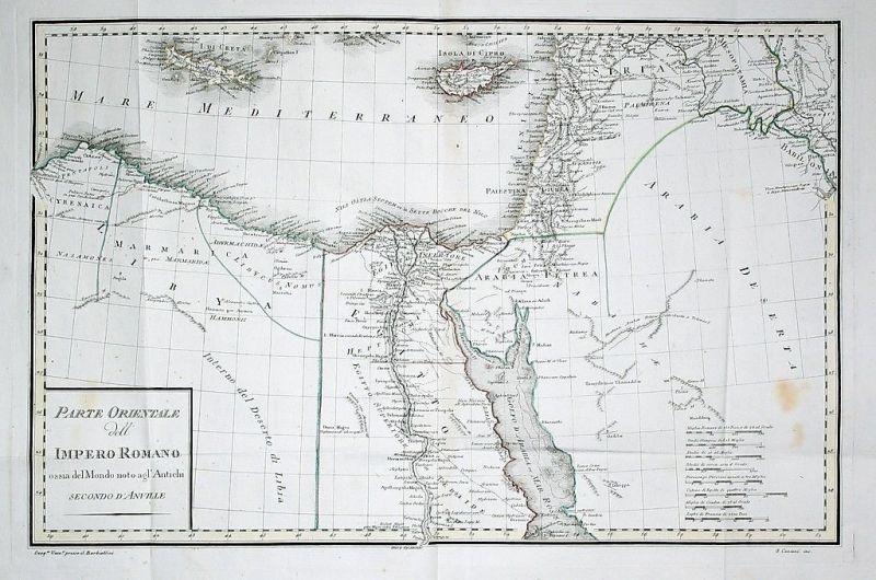 1807 - Cyprus Egypt Syria Israel map Barbiellini Karte gravure carte engraving