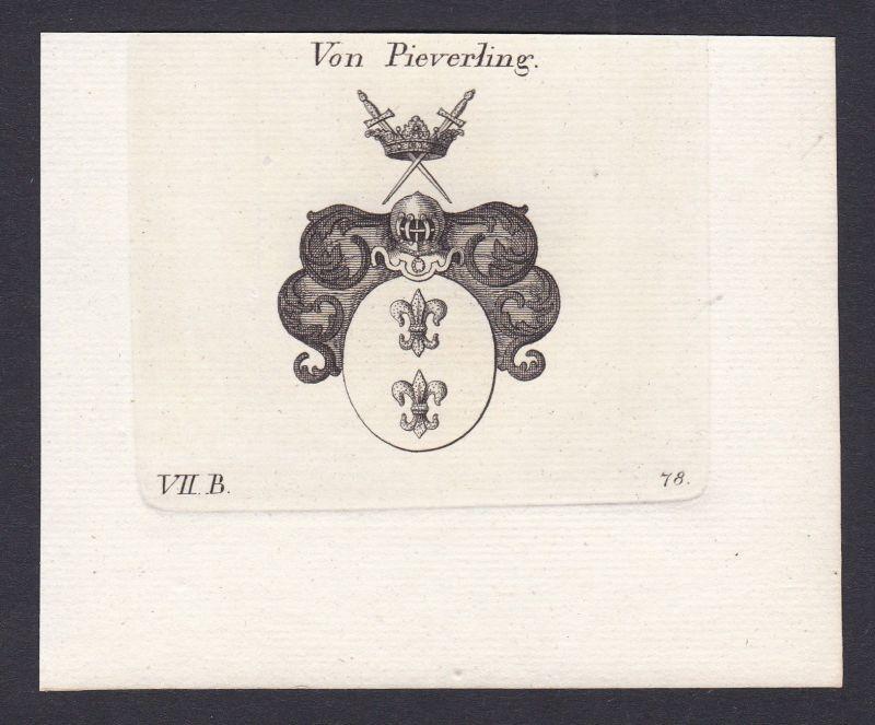 Pieverling Wappen Adel coat of arms heraldry Heraldik Kupferstich antique print