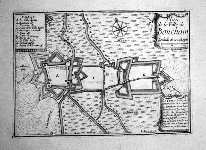 1680 Bouchain France plan carte map gravure Kupferstich engraving Beaulieu