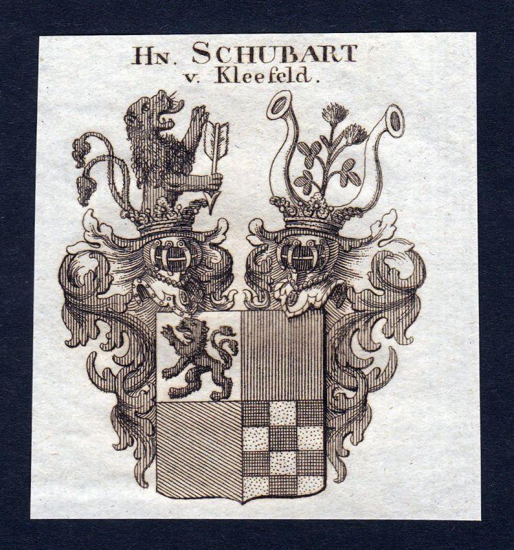 1820 Schubart Kleefeld Wappen Adel coat of arms Heraldik Kupferstich engraving