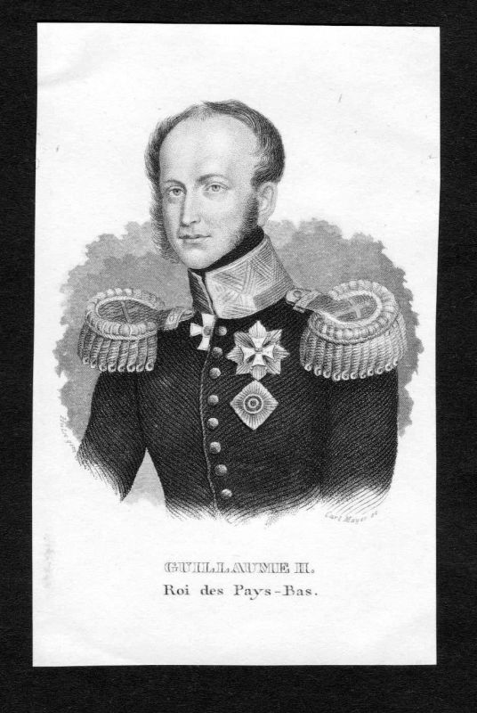 19. Jh. Willem II der Nederlanden prins Oranje Portrait Stahlstich engraving