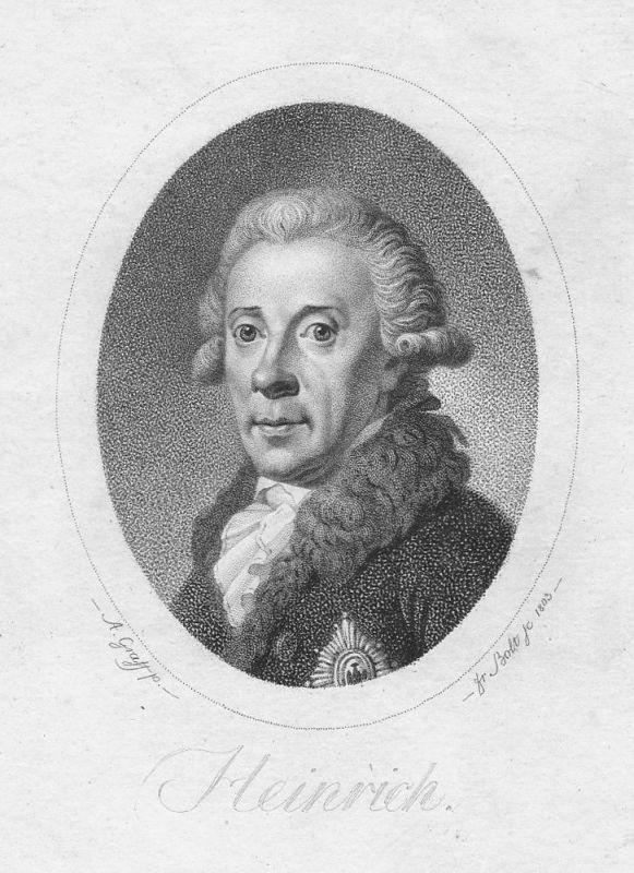 1803 Prinz Heinrich von Preussen Portrait Stahlstich antique print Graff Bolt