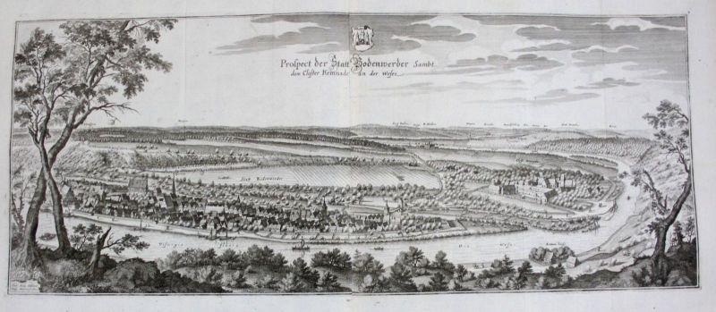1650 - Bodenwerder Weser Panorama Gesamtansicht Kupferstich Merian engraving 0