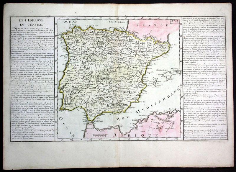 Ca. 1780 Spain Espana Spanien Portugal Clouet antique print Kupferstich