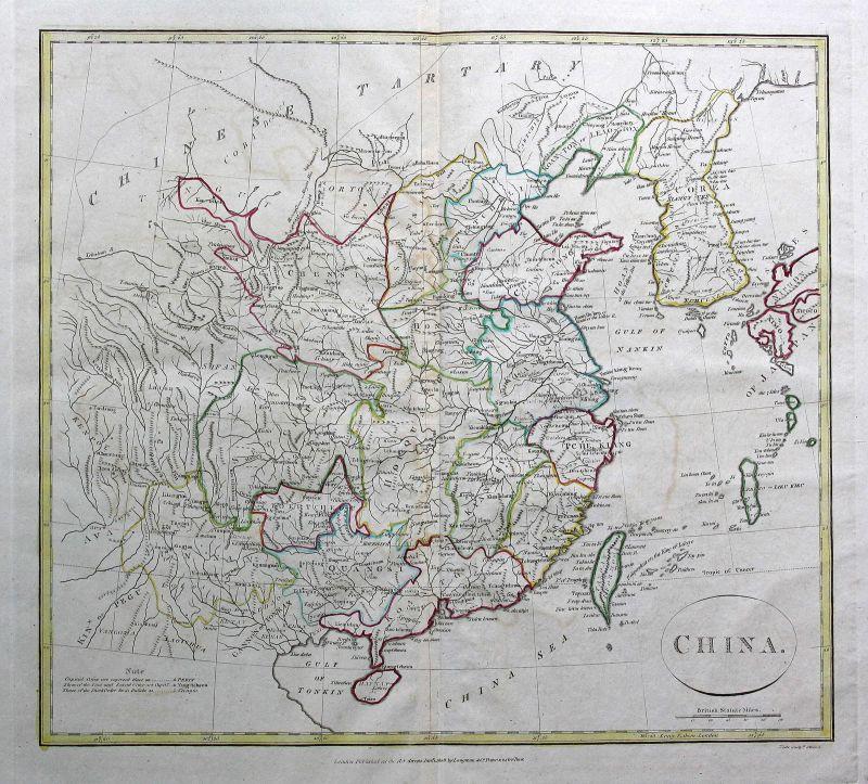1808 China Asien Asia Taiwan Nordkorea Südkorea Korea Karte map Kupferstich