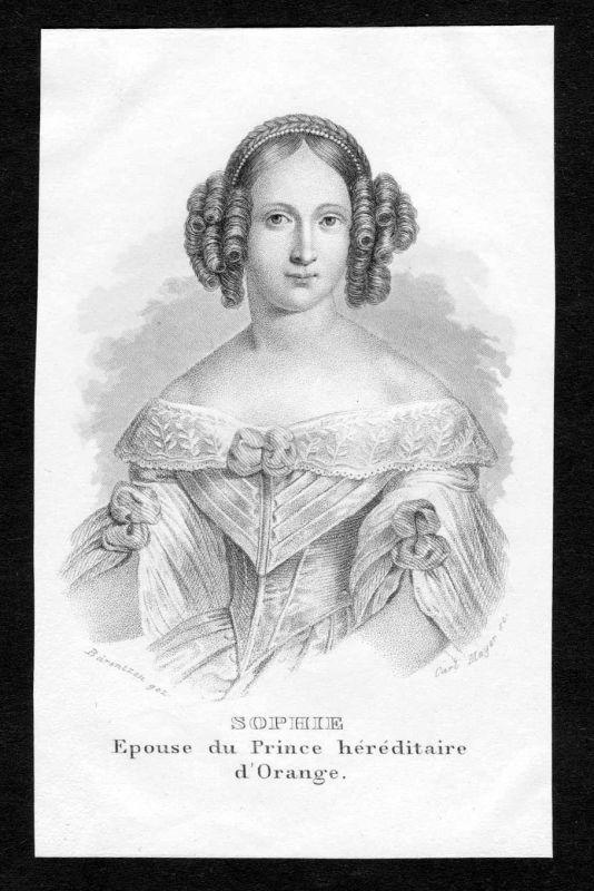 19. Jh. Sophie van Oranje-Nassau Portrait Stahlstich engraving