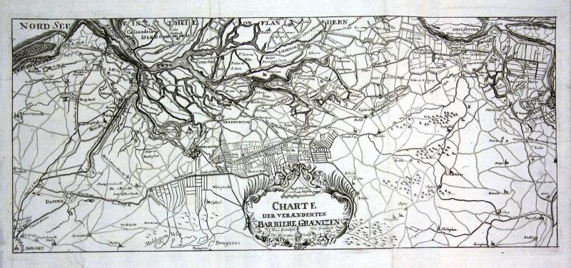 1738 Cadzand Nederland Belgique carte gravure Kupferstich antique print Merian