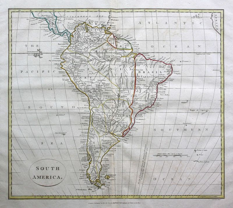 1808 Süd Amerika South America Brasilien Brazil Karte map Kupferstich