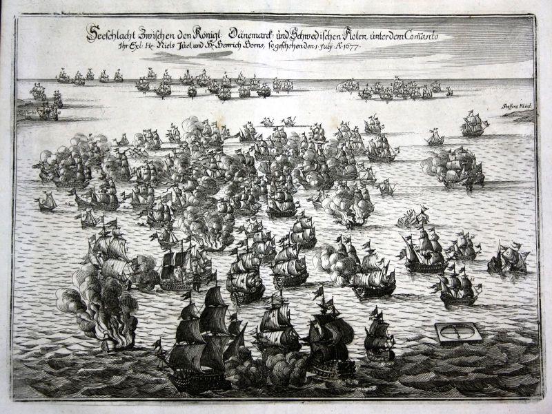 1680 Seeschlacht sea battle Koge Denmark Sweden Kupferstich antique print Merian