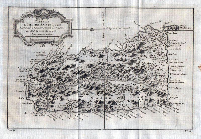 1758 Saint Lucia Caribbean Island map Karte Kupferstich engraving Bellin