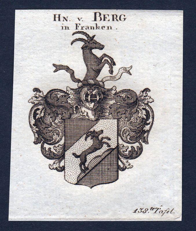 1820 Berg Franken Wappen Adel coat of arms Heraldik Kupferstich engraving