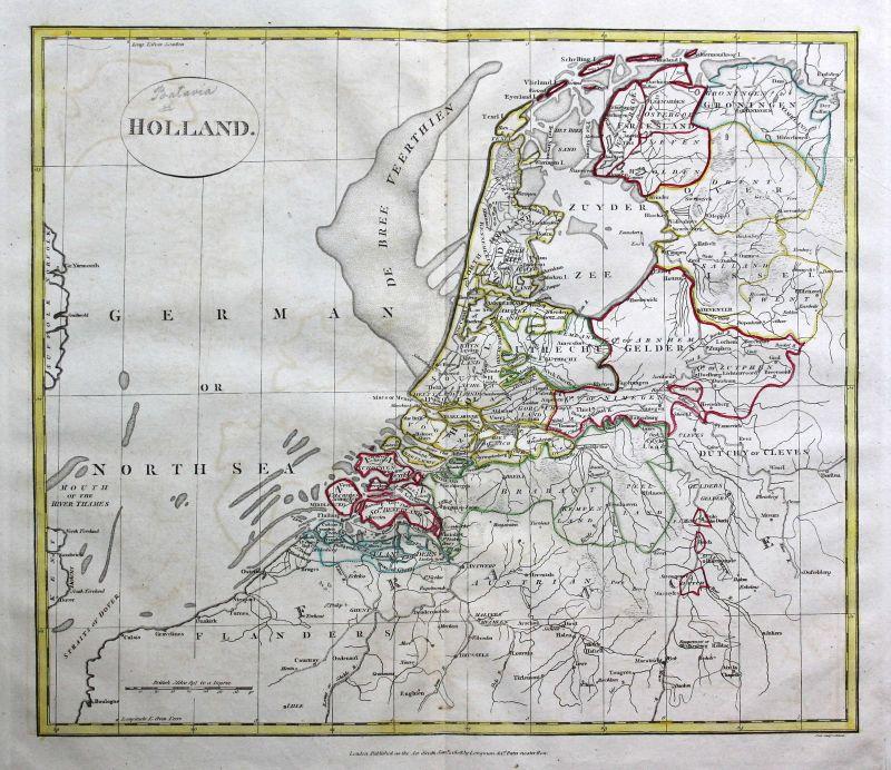 1808 Holland Niederlande Netherlands Nederland Karte map Kupferstich