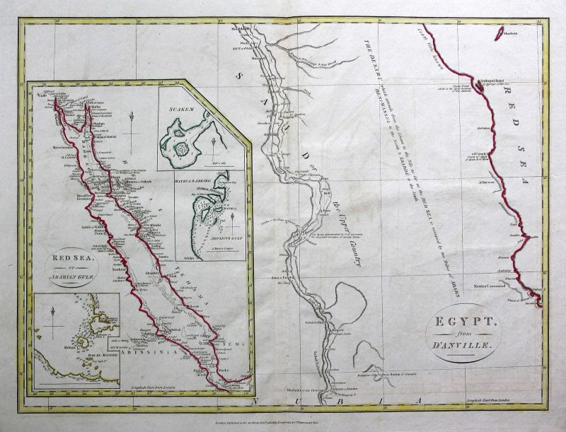 1808 Ägypten Egypt Afrika Africa Rotes Meer Red Sea Karte map Kupferstich