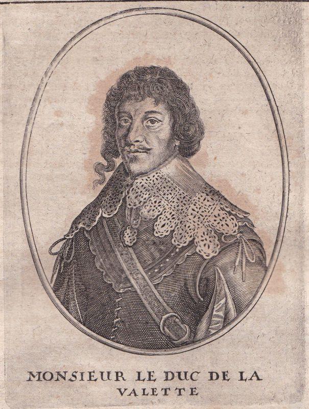 1650 de La Valette duc gravure Portrait Kupferstich antique print Merian