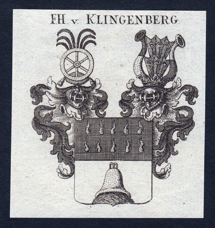 1820 Klingenberg Süddeutschland Wappen Adel coat of arms Kupferstich engraving