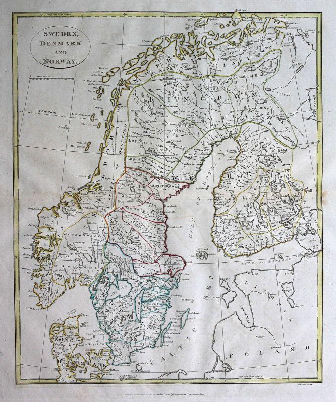 1808 Schweden Sweden Dänemark Denmark Norwegen Norway Karte map Kupferstich
