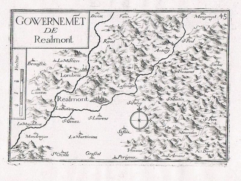 1660 - Realmont Midi-Pyrenees Tarn Albi gravure Original Kupferstich Tassin