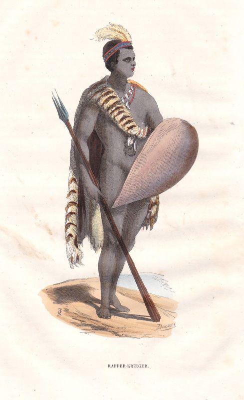 Kaffer Krieger warrior Africa Afrika Asia Asien Tracht Trachten costumes Grafik