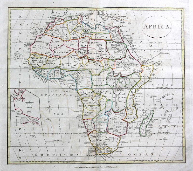 1808 Afrika Africa Madagaskar Ägypten Egypt Algerien Karte map Kupferstich