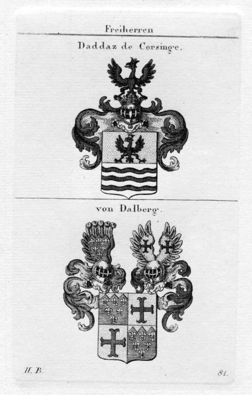 1820 - von Dalberg Daddaz de Corsinge Wappen Adel heraldry Heraldik Kupferstich