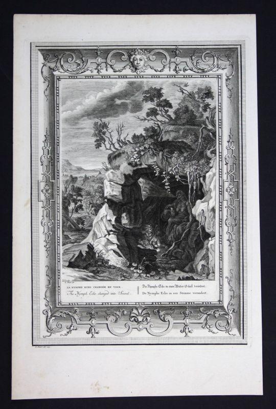 Ca 1730 Echo Oreade nymph Greek Mythologie Oread mythology Kupferstich engraving