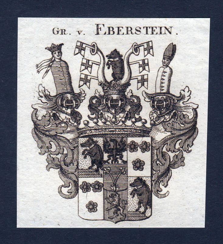 1820 Eberstein Franken Wappen Adel coat of arms Heraldik Kupferstich engr 143510