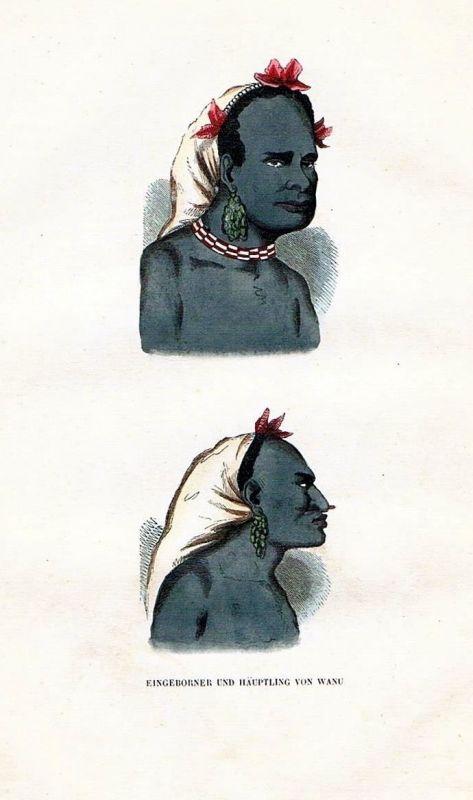 1845 Fiji Island Oceania Sandalwood-Island Trachten Holzstich costumes antique