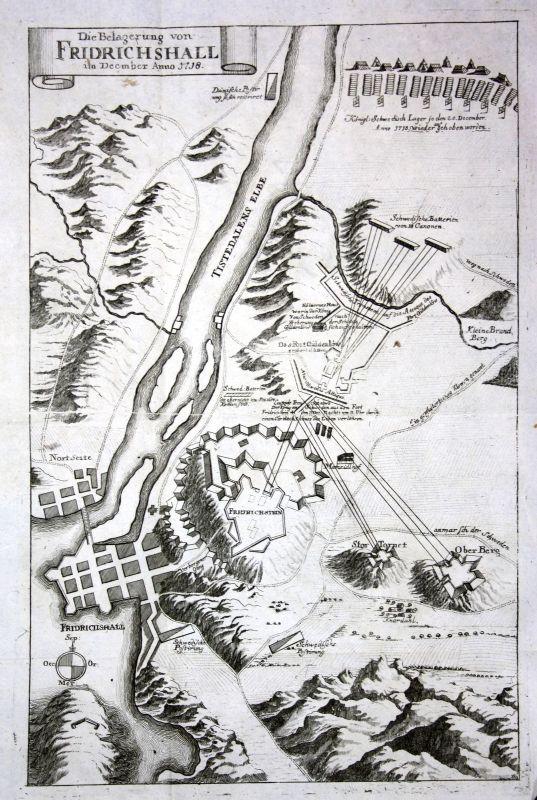 1738 Halden Norge Norway battle Karte map Plan Kupferstich antique print Merian