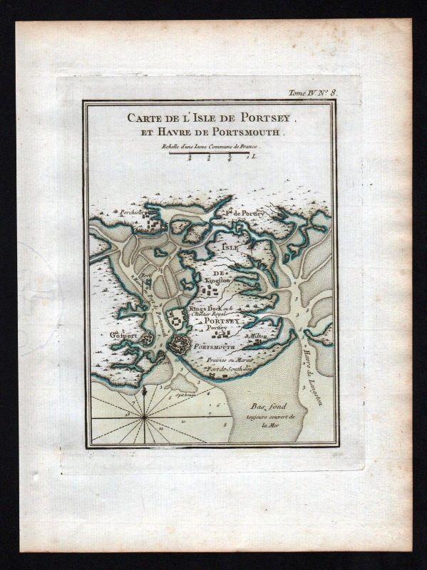 1764 Portsmouth Portsea Island Ireland Irland Kupferstich Bellin Karte map carte