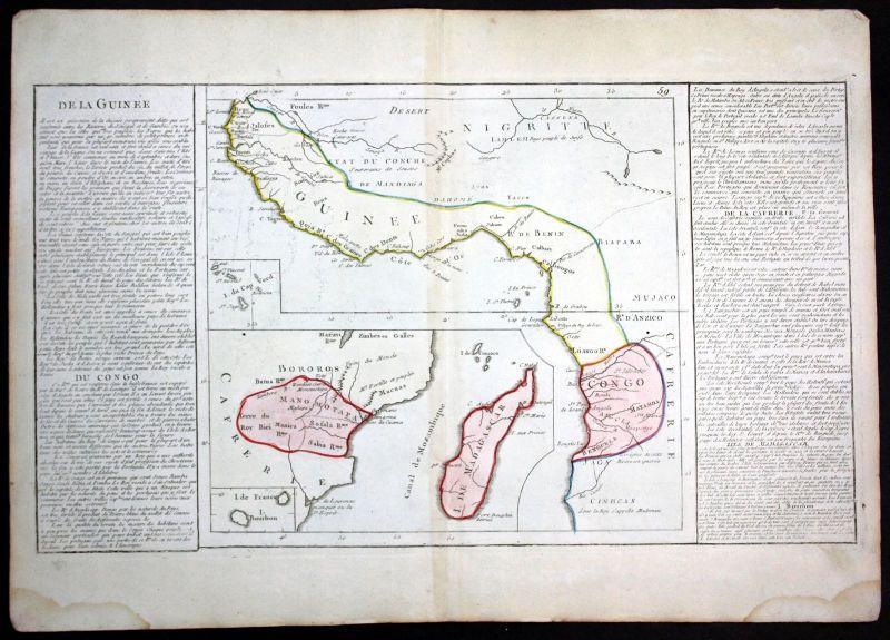 Ca. 1780 Congo Cameroon Nigeria Guinea Africa Clouet antique print Kupferstich