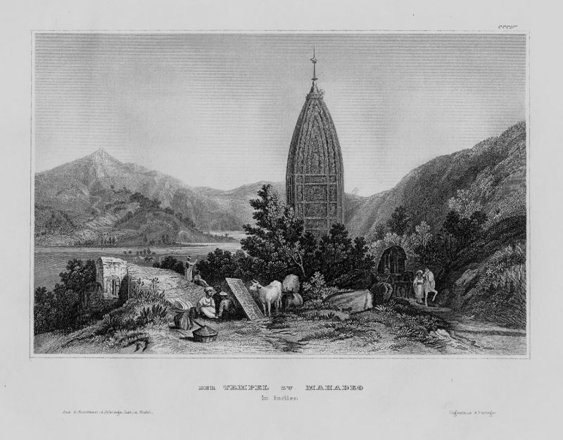 1840 - Kandariya Mahadeva Tempel Khajuraho Indien India engraving Stahlstich