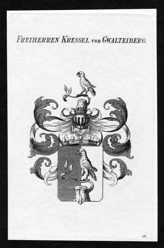 1820 - Kressel von Qualtenberg Wappen Adel coat of arms heraldry Heraldik